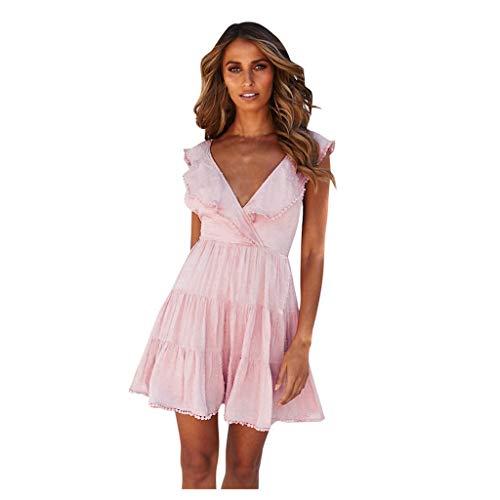 KIMODO V Ausschnitt Kleid Damen Spitzenkleid Träger Rückenfreies Neckholder Sommerkleider Frauen Strandkleider Kurzarm Quaste Minikleid Abend Partykleid (Rosa, Small)
