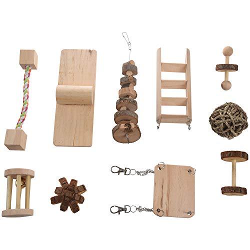 MLXG - Juego de 10 accesorios de juguete de chinchilla de ratas de cerdo, madera natural, juguete Molar para pájaros, conejo, gerbolas