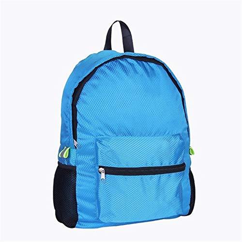 Ai-yixi Mochila de viaje impermeable de nailon de diseño clásico para exteriores, bolsa de montañismo, mochila plegable con enrejado de diamante, perfecto salvaje (color: azul, tamaño: A)