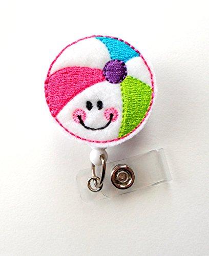Smiling Beach Ball - Badge Reel - Medical Badge Holder - RN Badge Reel - Teacher Badge Holder - Nursing Badge Clip - Sea Pass Badge