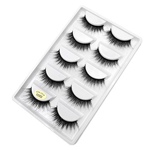 Injoyo 5 Paires De Maquillage Long Réutilisable Fait Main Long Prolongement De Faux Cils - #2