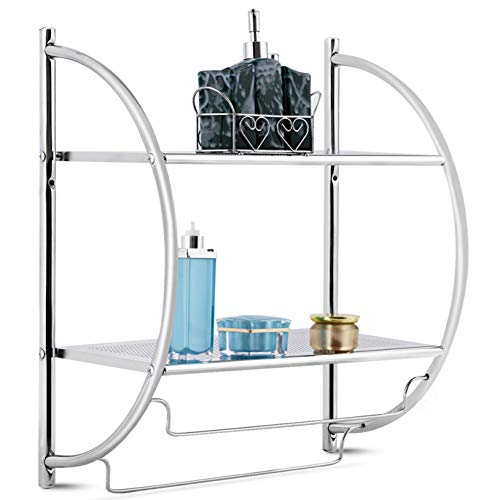 Safeplus Bathroom Towel Rack, Mounted Chrome Bathroom Shelf with Towel Rack Shower Organizer, Perfect for Toilet Bathroom
