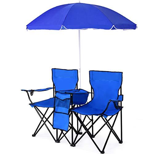 COSTWAY Campingstuhl mit Sonnenschirm, Klappstuhl für Paare, Doppel Angelstuhl faltbar mit Getränkehalter Kühltasche