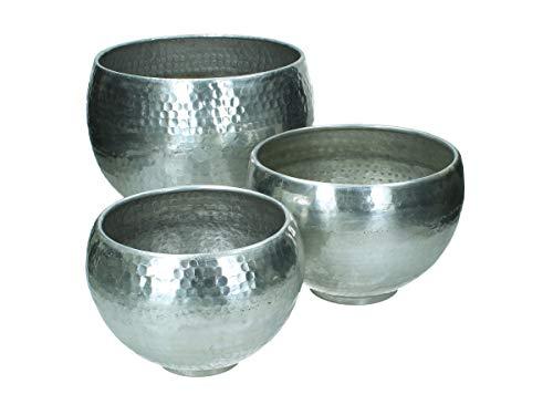 Bloempot 3-delige set gehamerd metaal - zilver
