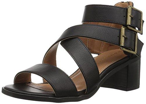 RAMPAGE Damen Havarti Casual Buckle Block Heel Sandalen mit Absatz, Schwarz glatt, 35.5 EU