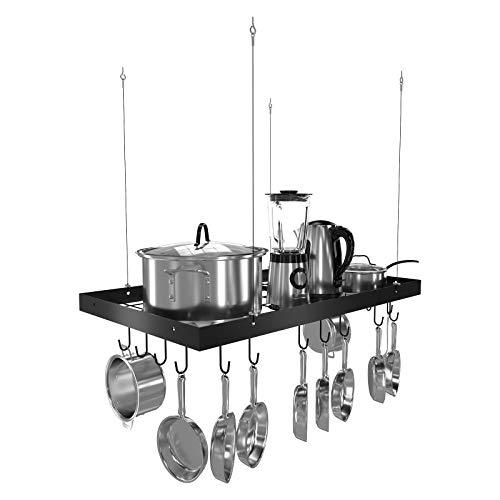 KES Ceiling Pot Rack 30 Inches Hanging Pot and Pan Rack for Ceiling with 15 Hooks Matt Black Kitchen Pot Hanger Rack,KUR219S75-BK