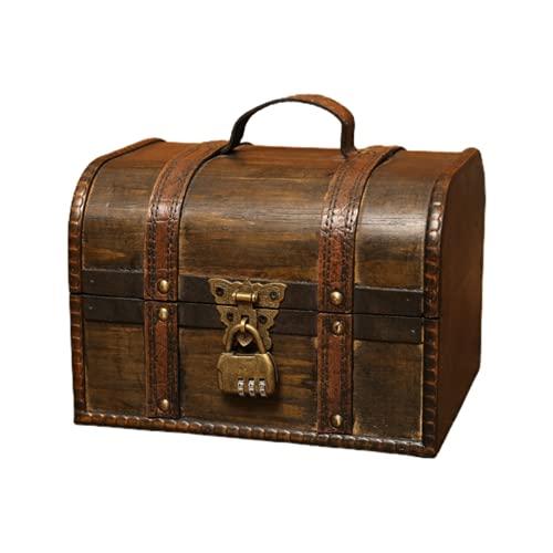 HNZNCY Caja de almacenamiento de joyería de madera vintage, caja de almacenamiento con cerradura, se utiliza para caja de almacenamiento de madera decoración del hogar