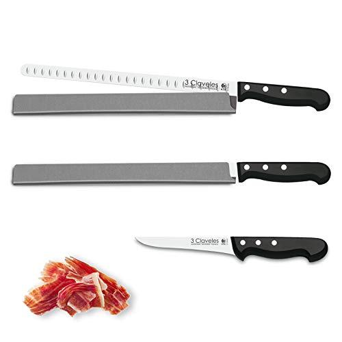 Juego de Cuchillos Profesionales 3 Claveles Selección Master Chef, Jamonero Alveolado 29 cm, Deshuesador 15 cm y Funda...