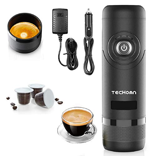 TECHOMN Máquina de café portátil con funda, cafetera eléctrica cargador de 12 V, cafetera espresso para viajes, camping y coche, compatible con las cápsulas Nespresso y el oro origen.
