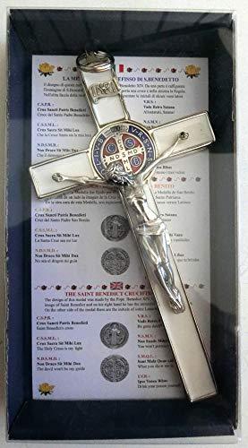 GTBITALY 10.004.11 Kreuz, silberfarben, weiß, 20 cm, emailliert, mit Box, Geschenkbox, ExsoRCISME, ExsoRCIST, Liebhaber, Schwiegermutter, Kirche