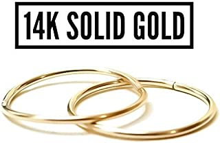 "14K Yellow or Rose Gold Seamless 1/2"" Sleeper Hoop Earrings 100% Hypoallergenic/Nickle Free For Sensitive Ears"