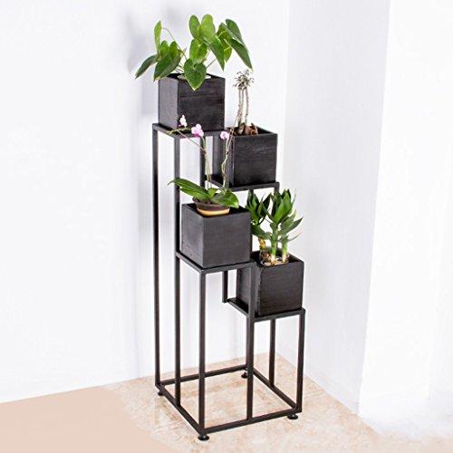 Plancher en bois massif en bois Plancher en pot Pot en fleurs Salon Balcons en étagère 4 couches à grande trépied
