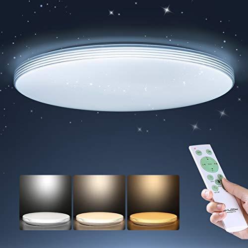 SHILOOK Led Deckenleuchte Dimmbar mit Fernbedienung 24W, Sternenhimmel Deckenlampe für Schlafzimmer Kinderzimmer küche Wohnzimmer, Rund Flach 40cm