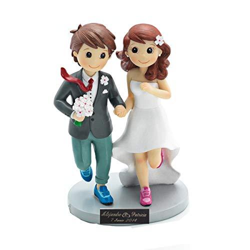 Pareja de novios Running, figura de novios PERSONALIZADA grabada con nombres y fecha. Figura de boda original