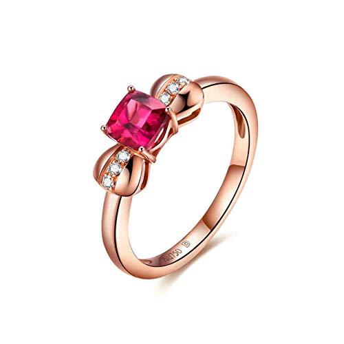 AnazoZ 18k Oro Rosa Anillos para Mujer Oro Rosa Anillo de Mujer Lazo Turmalina Roja 0.52ct Talla 17