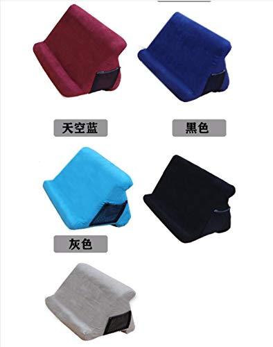 RONSHIN Praktisch Voor Multi-Hoek Kussen Tablet Lezen Houder Stand Schuim Lap Rest Kussen voor Pad Telefoon, black, With net pocket
