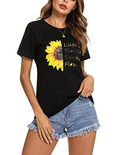 Irevial Camisetas Mujer Manga Corta Verano, Camisetas Basicas Deporte Mujer Cuello Redondo...