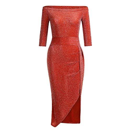 HOOUDO Robe Longue Femme,Femmes Off éPaule Haute Fente Moulante Robe Demi Manches Empire Robes Party Robe De SoiréE Orientale Rouge pastèque 40