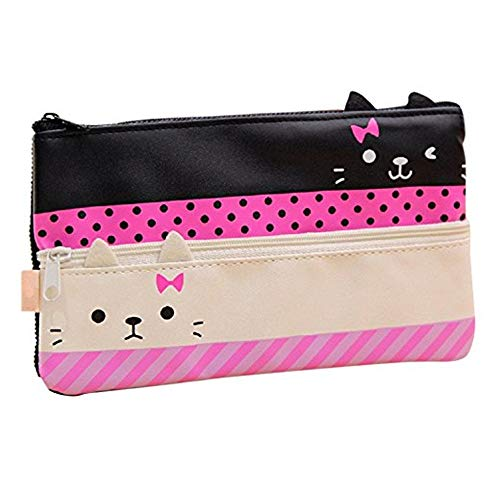 Funny live Contracted Cat Pencil Case, Pen Bag, Creative Learning Products, Large, White