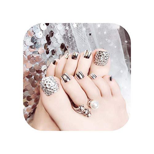 Sexy Femmes DIY Nail décoration 24 Pcs faux ongles d'orteil avec de la colle Métal Argent Métallique chrome Miroir Court Ongle Ongle Couverture Complète-Silver-
