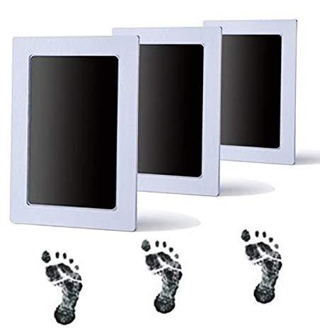 Pizies 3 Stück Premium Tintenkissen für Baby-Fußabdrücke und Handabdruck, sicher und ungiftig, perfekt für Mädchen (schwarz)