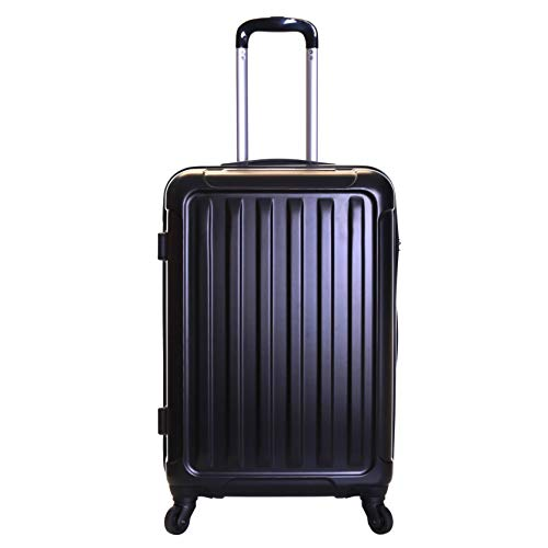 Slimbridge Hard Medium Large Suitcase Luggage Bag ABS Shell 67 cm 3.2 kg 55 litres with 4 Wheels and Integrated Number Lock, Lydd (67 cm, Black)