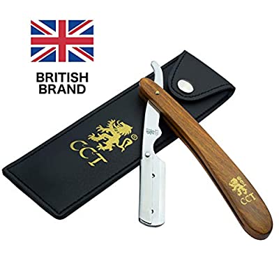 The Cambridge Cut Throat™ Barber Straight Shaving Swing Lock Razor Kit with Leather Travel Pouch and Natural Cotton Kit Bag Gifts for Men Male Grooming Present