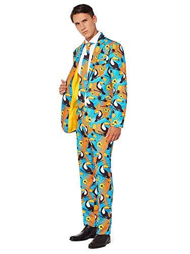 OFFSTREAM Faschingskostüme für Herren - Mit Jackett, Hose und Krawatte mit Festlichen Print, L, Tropical Blue