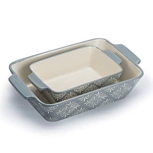 ベーキング皿 セラミックベーキングパン グレー キャセロール皿 長方形ベーキングセット 2個セット ラザニアパン ベーキング皿