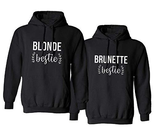 Beste Freunde Pullover für Zwei Mädchen Best Friends Hoodie Blonde Brunette Pullis Hoodie BFF Pullover Sister Kapuzenpullover Damen Pulli BFF Geschenke Geburtstagsgeschek