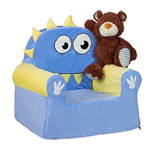 Relaxdays Sillón Infantil Suave, diseño de Monstruos, 47 x 52 x 37 cm, Color Azul y Amarillo, 1 Unidad