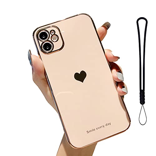 LLGO Compatible for iPhone 11 Case 6.1 Inch Electroplated Love Heart, Case for iPhone 11 Plating Soft TPU Shockproof Camera Protective Back Cover - Rose Gold Pink