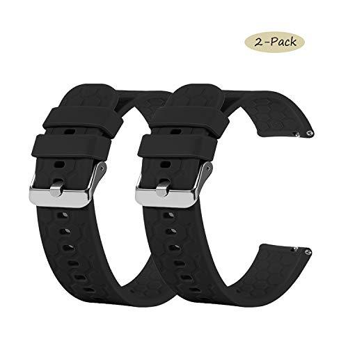 Chofit correas compatibles con Amazfit Bip Smart Watch A1608,  correa de repuesto de 20 mm de silicona suave Sport bandas brazalete brazalete brazalete para Bip S/Bip/Bip Lite Smartwatch (2 negros)