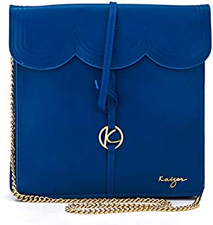 Kaizer KZ2206BLU Leather Crossbody Bag for Women - Blue