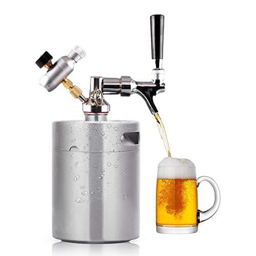 Beer Mini Keg Growler Tap System, 67oz Pressurized Beer Dispenser Portable Stainless Steel Kegerator Kit for Craft Beer, Draft and Homebrew