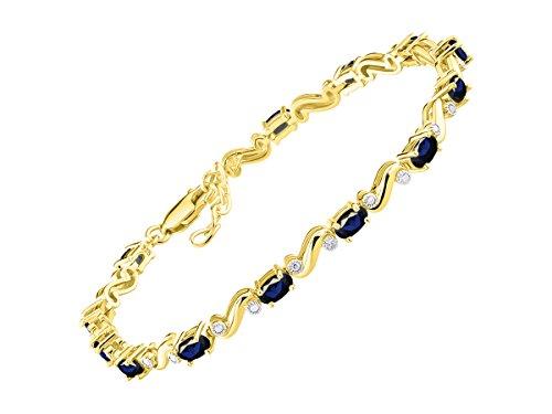 Impresionante pulsera de zafiro y diamante en forma de S tenis en plata chapada en oro amarillo – ajustable para adaptarse a muñecas de 18 a 20 cm