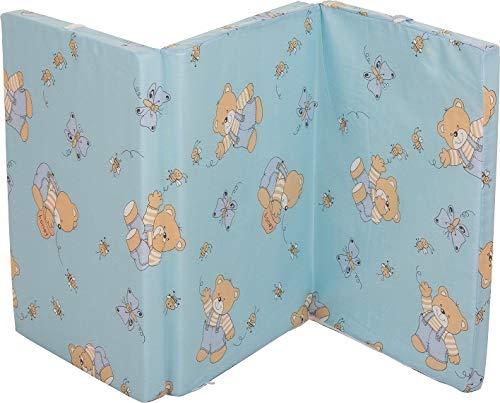 Fillikid Reisebettmatratze 60 x 120 cm | Baby-Matratze mit Tragetasche | atmungsaktiv & klappbar | Bezug 100% Baumwolle abnehmbar & waschbar | Kern aus hochwertigen Softschaum, Design:blau