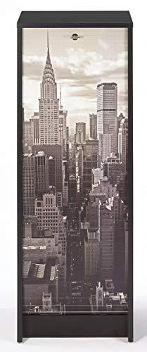 SIMMOB Classeur à Rideau Noir Hauteur 104 cm New York, Bois