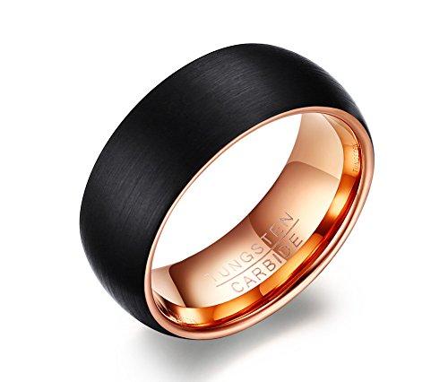 vnox Anillo de carburo de tungsteno 8mm anillo de boda banda para hombres mate acabado chapado en oro rosa y negro tamaño 7–12