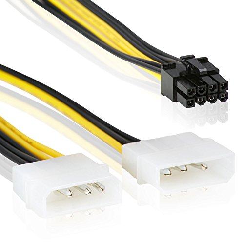 8-Pin PCI Express Grafikkarten Stromkabel zu 2x 4 Pin Molex IDE | 18cm | PCIe Stromadapter LP4 Y-Adapter – MOVOJA