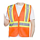 Tydon High Visibility Safety Vest for Men Women Reflective Mesh Security Vest with 2 Inner Pockets Zipper Front Meets ANSI/ISEA Standards (L, Orange)