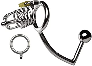 Device Bōñdāgē Cage Toy High Quality Stainless Steel Cǒck Lock Stainless Steel Siamese Anãl Plug for Male Protective Device Anti-Off Lock Ring (Size : 50mm)