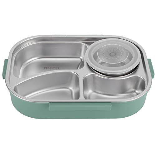 OIHODFHB Fiambrera portátil de acero inoxidable con 4 rejillas y recipiente de almacenamiento de alimentos para estudiantes adultos 4 rejillas con tazón de sopa (verde)