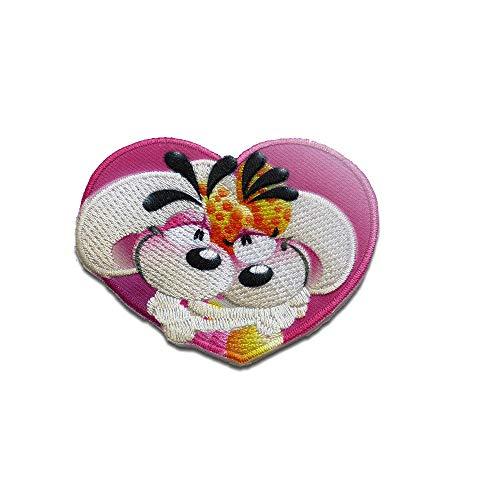 Diddl Maus und Diddlina im Herz Cartoon - Aufnäher, Bügelbild, Aufbügler, Applikationen, Patches, Flicken, zum aufbügeln, Größe: 5,5 x 6,8 cm