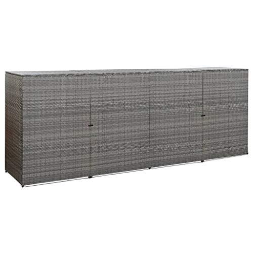 vidaXL Mülltonnenbox für 4 Tonnen Mülltonne Müllbox Mülltonnenverkleidung Müllcontainer Gerätebox Anthrazit 305x78x120cm Poly Rattan Stahl