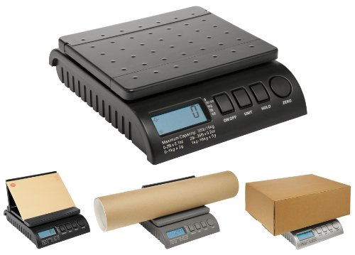 Postship zwarte digitale weegschaal, 20 kg/44 lb, 1 g verhoging, brievenpost/porto/pakket/verzending/wegen/pakje - 0-1 kg/1 g, 1-5 kg/2 g, 5-20 kg/5 g.