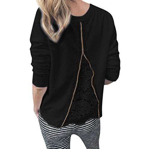 Alangbudu Women Back Lace Patchwork Blouse Zipper Decor Tops Long Sleeve T Shirts Casual Pullover Loose Fit Sweatshirt Black