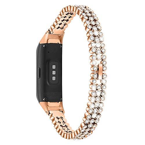 Chofit Ersatz-Armbänder kompatibel mit Samsung Galaxy Fit SM-R370 Armband, Metall Edelstahl Armband mit Strass Bling Bling Armband für Galaxy Fit SM-R370 Fitness Tracker, rose gold