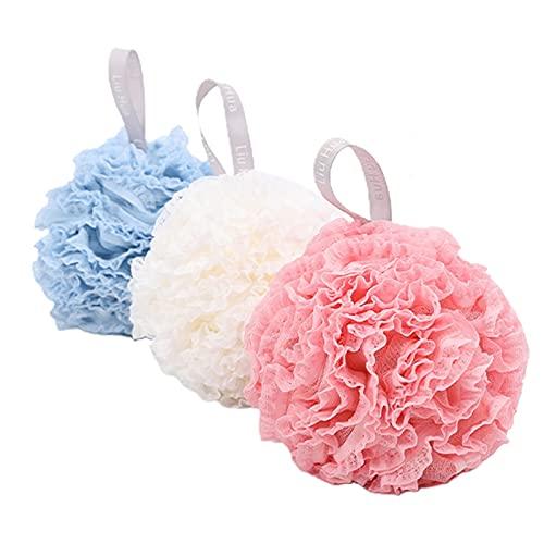 HNGM Esponja baño 3 Piezas Baño Loofah Bola Ducha Esponja Tenis Color al Azar Textura Suave EDUCACIÓN FÍSICA Diámetro del depurador del Cuerpo 18 cm