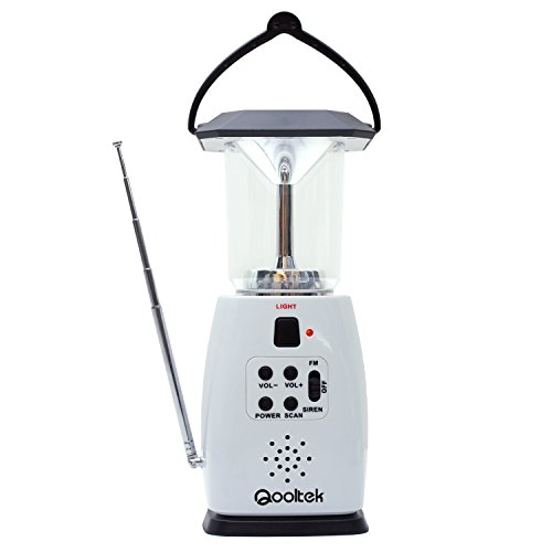 Qooltek Multi-Functional 4-Way Powered Solar Hand Crank LED Camping Lantern with Radio and Emergency Cell Phone Charger